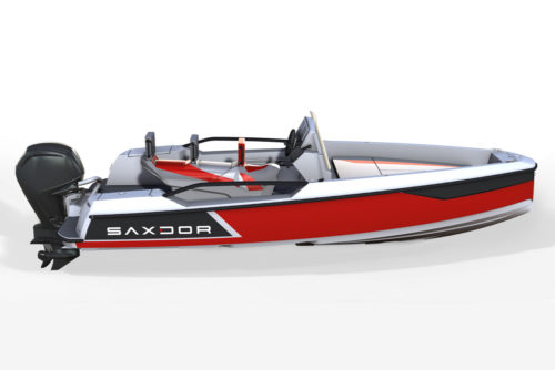 Saxdor Yachts - Red boat with grey finish elements