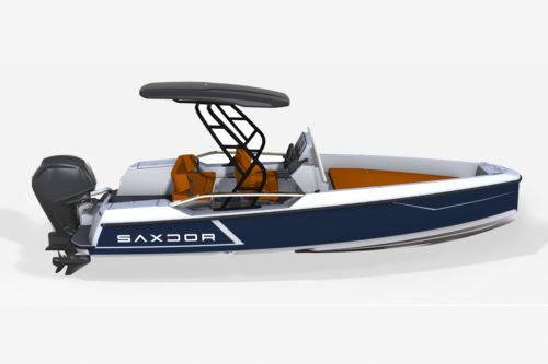Saxdor Yachts - Blue boat with grey finish elements