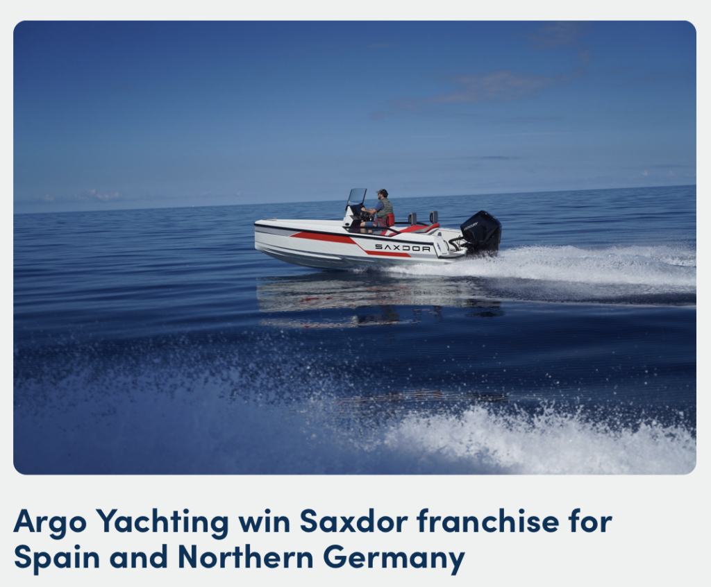 Argo Yachting win Saxdor franchise for Spain and northern Germany - Saxdor Yachts